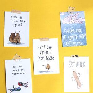 Postikortit, joissa on suomalaisia sanontoja käännettynä englanniksi